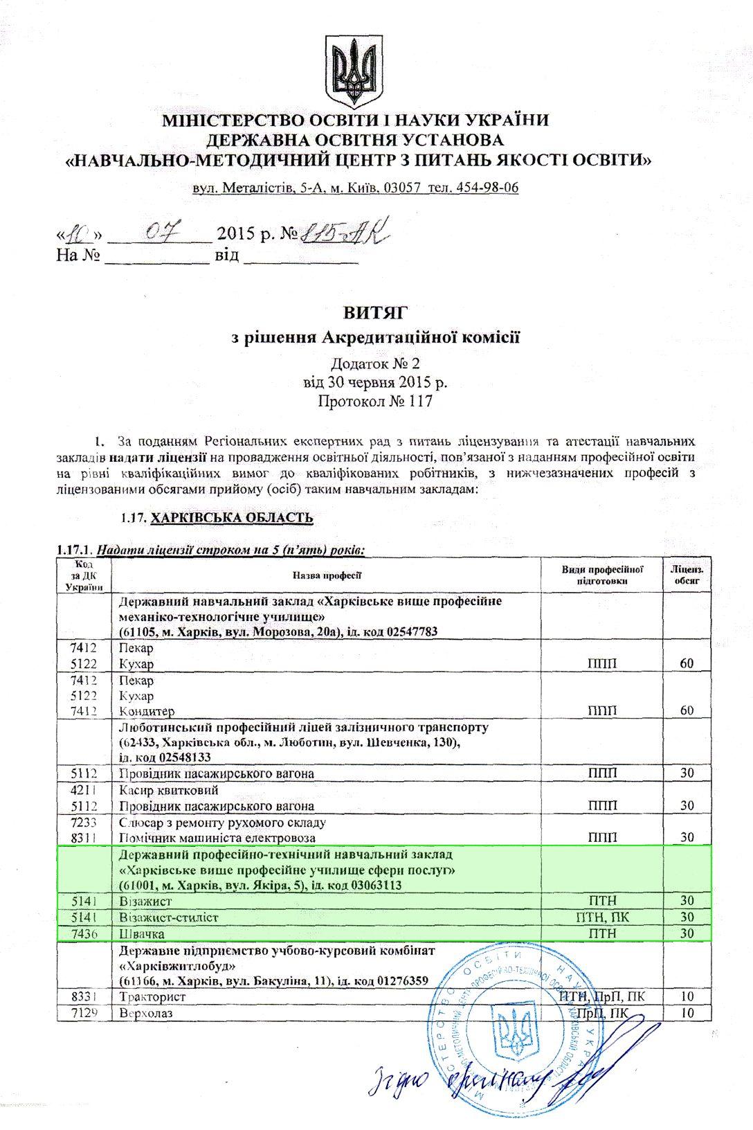 Витяг з рішення Акредитаційної комісії від 30.06.2015_1